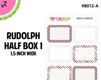 RUDOLPH Half Box Pattern Labels | Tiny Bites Stickers | 6 Kiss-Cut Stickers | White Space, Functional Planning | HB012-A
