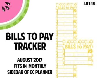 AUGUST 2017 Monthly BILLS to Pay Tracker Stickers | Vertical Color Palette | LB145