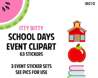 NEW! ITTY BITTY School Days Event Clipart | Track Teacher Conference, School Events, Classwork, Class Projects | 63 Die-Cut Stickers | IB010