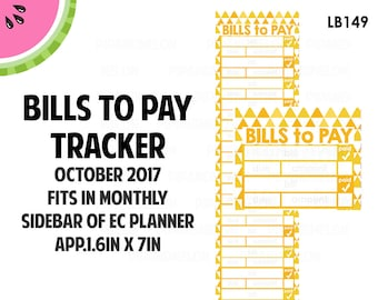 OCT 2017 Monthly BILLS Tracker Stickers | Vertical Color Palette | LB149