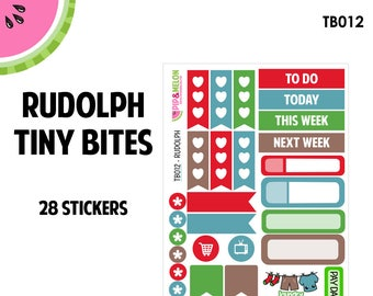 RUDOLPH | Tiny Bites Stickers | 28 Kiss-Cut Stickers | White Space, Functional Planning | TB012