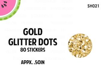 Gold Glitter Dots Stickers | Faux Glitter | 80 Kiss Cut Stickers | 0.50 inch | SH021