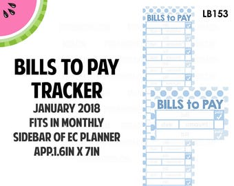 JANUARY 2018 Monthly BILLS Tracker Stickers | Vertical Color Palette | LB153