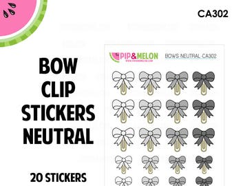 BOW Clips Stickers | Neutrals | 20 Kiss-Cut Stickers | bows, clip stickers | CA302