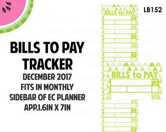 DECEMBER 2017 Monthly BILLS Tracker Stickers | Vertical Color Palette | LB152