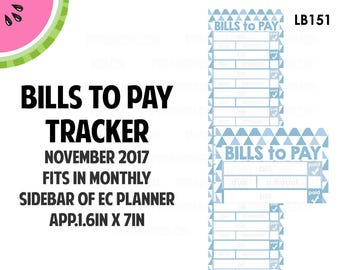 NOVEMBER 2017 Monthly BILLS Tracker Stickers | Vertical Color Palette | LB151
