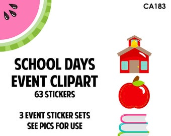 NEW! School Days Event Clipart Regular Size | Track Teacher Conference, School Events, Class Projects | 63 Die-Cut Stickers | CA183