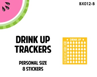 Water Drink Up Tracker Label | 8 Kiss-Cut Stickers | Fits SMC, EC, MAMBI and Small Planners | BX012 |