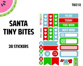 SANTA | Tiny Bites Stickers | 28 Kiss-Cut Stickers | White Space, Functional Planning | TB010