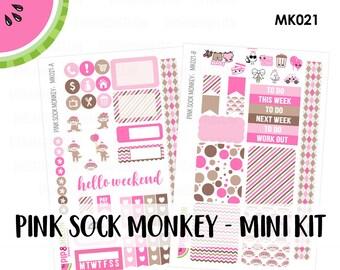 a La Carte | Pink Sock Monkey Mini Kit | Erin Condren and Mambi  | MK021