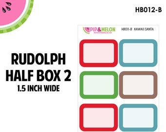 RUDOLPH Half Box Solid Labels | Tiny Bites Stickers | 6 Kiss-Cut Stickers | White Space, Functional Planning | HB012-B
