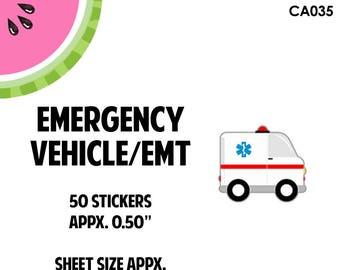 Rescue Ambulance Vehicle Sticker | 50  Kiss-Cut Stickers | CA35 |