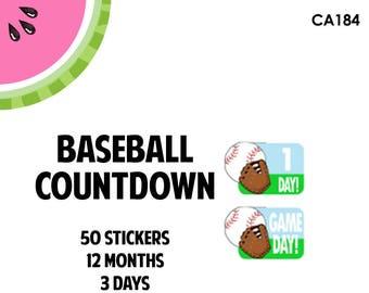 CA184| Vacation Baseball Countdown Stickers | 50 Kiss-Cut Stickers | Baseball Trip, BaseBall Game, Summer VacationTrip
