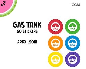 Gas Tank/Gas Pump Icon Stickers | 60 Kiss Cut Stickers | IC055