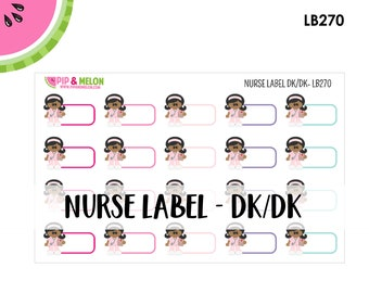 Nurse Label Sticker| Dark Hair/Dark Skintone | 20 Kiss-Cut Stickers | Medical, Work Schedule, Appointment, Treatment | LB270