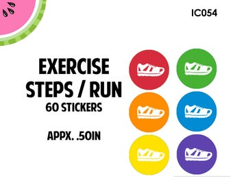 Exercise/Steps/Running/ Walking Icon Stickers | 60 Kiss Cut Stickers | IC054