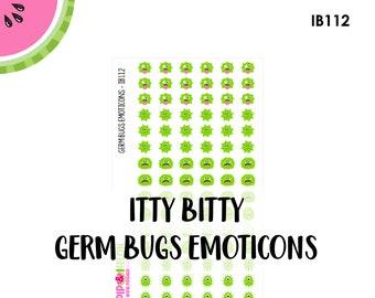 ITTY BITTY Germ Bugs Emoticons |  90 Kiss-Cut Stickers | Sickness, Illness , Barf, Flu, Virus | IB112 |