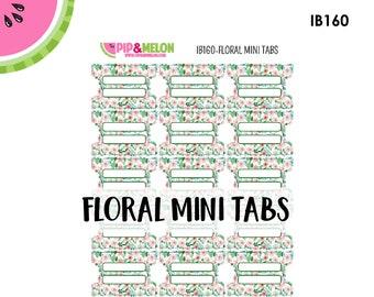 Floral MINI Tab Stickers  | 18 Kiss-Cut Stickers | Planner Tabs, Midori Tabs, Bible Tabs, Divider Tabs, War Binder Tabs | IB160