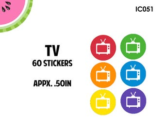 TV Icon Stickers | 60 Kiss Cut Stickers | IC051