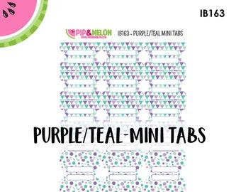 Purple/Teal  MINI Tab Stickers  | 18 Kiss-Cut Stickers | Planner Tabs, Midori Tabs, Bible Tabs, Divider Tabs, War Binder Tabs | IB163