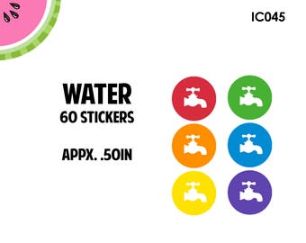 Water Utility Icon Stickers | 60 Kiss Cut Stickers | IC045