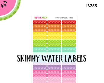 """Skinny WATER Label Stickers / 51 Water Tracker Label/ Rainbow Colors / .30"""" x 1.5"""" // LB255"""