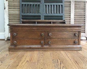 Antique Spool Cabinet, Vintage Spool Cabinet, Thread Cabinet, Wood Spool Cabinet, Counter Cabinet, Country French, Cottage Decor #041