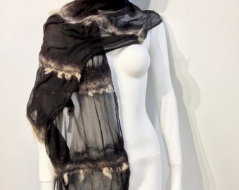 black silk and wool felted scarf