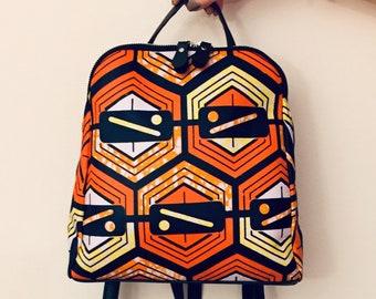 9f57f1c009e Sac à dos femme wax tissus africain jaune et orange - sac à dos en wax sac  ethnique idée cadeau femme