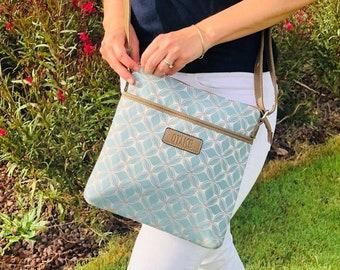 Hobo bag boho blue ethnic print for woman gift for her