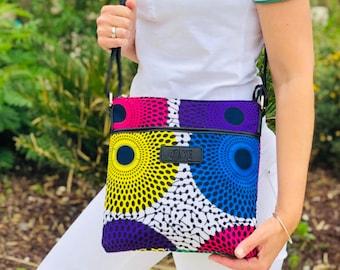 African wax print shoulder bag wax disc indian print geometric ethnic bag birthday gift for women