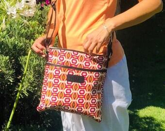 African wax prints shoulder bag ankara print white and fuchsia gift for her
