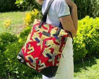 African wax print Tote bag red and yellow gift for women