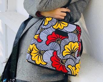 African wax print woman backpack Ankara print fabric gift for her