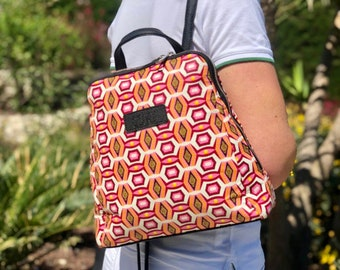 African wax print woman Backpack fuchsia Indian print gift for women gift for her