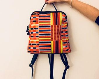 f5152d73d7b Sac à dos femme sac wax tissu africain imprimé géométrique graphique orange  et jaune - sac ethnique sac à dos femme idée cadeau femme