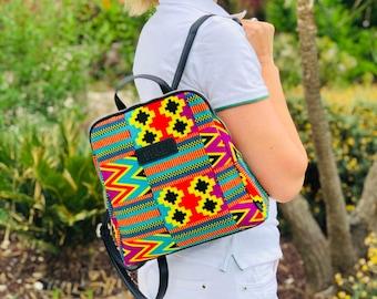 African wax print woman Backpack indian print Ankara print fabric bag Inca birthday gift for her