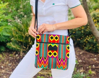 African wax print shoulder bag indian print Bogolan geometric ethnic bag birthday gift for women