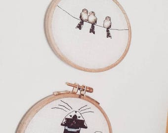 cat and birds decoration : embroidered frame gift for her, cat, birds