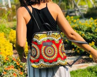African wax print woman Backpack indian print Ankara print fabric bag birthday gift for her