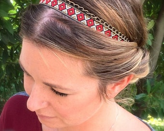 Headband, hair accessories, hair jewelry in wax african print and a bronze chain - Headband african wax print ethnique Red Blue Fluo color
