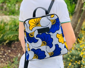 African wax print woman backpack blue red yellow flowers Idea gift for her