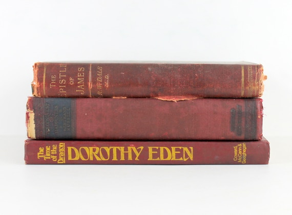 Vintage Book Set Book Stack Decorative Books Old Books Antique Books Book Bundle Collection Display Dark Red Rust Maroon