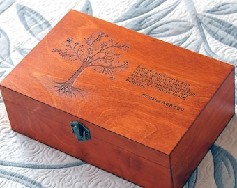 Custom quote wooden box, Memory box, Engraved bible verse box, Custom engraved jewelry box, Keepsake box, Treasury box