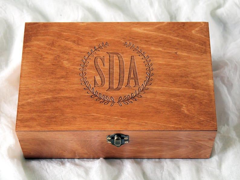 Monogram Box Custom Engraved Box Monogram Jewelry Box Personalized Monogram Box Monogrammed Wooden Box