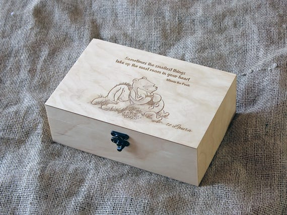 Custom Quote Wooden Box Memory Box Engraved Quote Box Custom Engraved Jewelry Box Keepsake Box Winnie The Pooh Quote