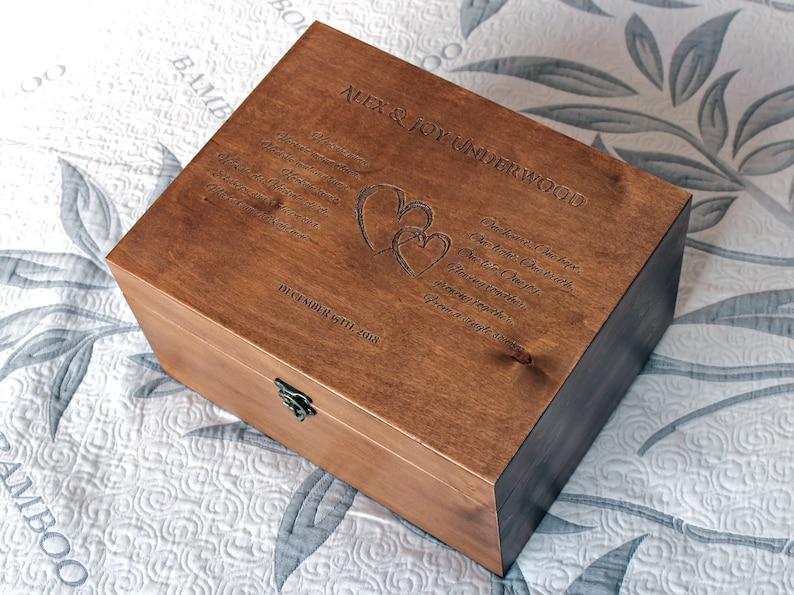 Personalized Wedding Box Personalized Wooden Box Wedding Oath Box Wedding Memory Box Custom Wedding Memento box