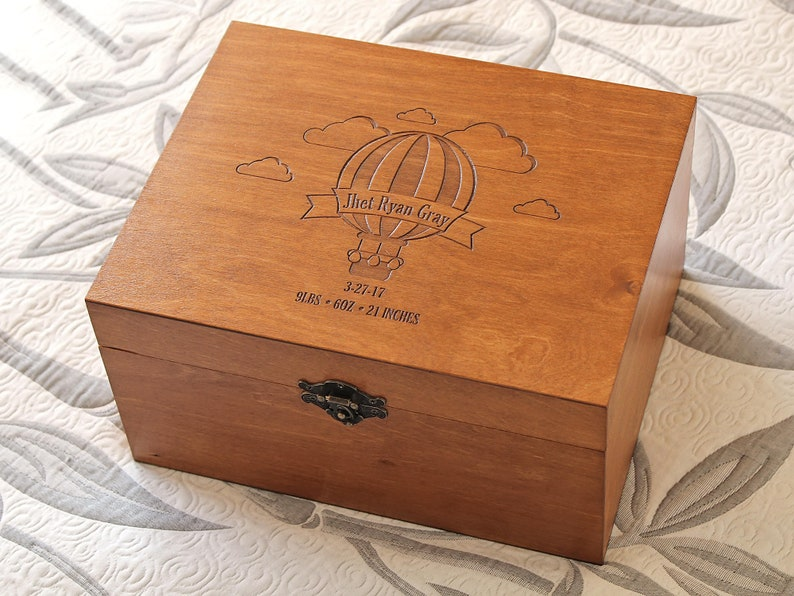 Personalized Baby Memory Box Baby Keepsake Box Hot Air Balloon Memory Box Custom Engraved Box Personalized Keepsake Box Time Capsule
