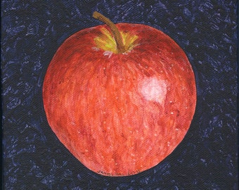 Braeburn Apple Painting, Original Fruit Painting, 6X6 Gallery Wrapped Canvas, Acrylic Painting, Food Art, Kitchen Art, Small Format Art