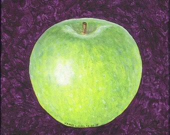 Granny Smith Apple Painting, Original Fruit Painting, 6X6 Gallery Wrapped Canvas, Acrylic Painting, Food Art, Kitchen Art, Small Format Art